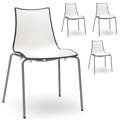 Zebra Bicolore Anthracite Leg Outdoor High Gloss Stacking Chair White/Anthracite Set Of 4
