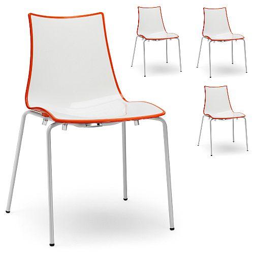 Zebra Bicolore White Leg Outdoor High Gloss Stacking Chair White/Orange Set Of 4