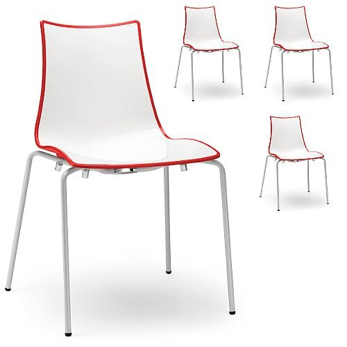 Zebra Bicolore White Leg Outdoor High Gloss Stacking Chair White/Red Set Of 4