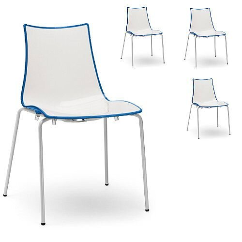Zebra Bicolore White Leg Outdoor High Gloss Stacking Chair White/Cornflower Blue Set Of 4