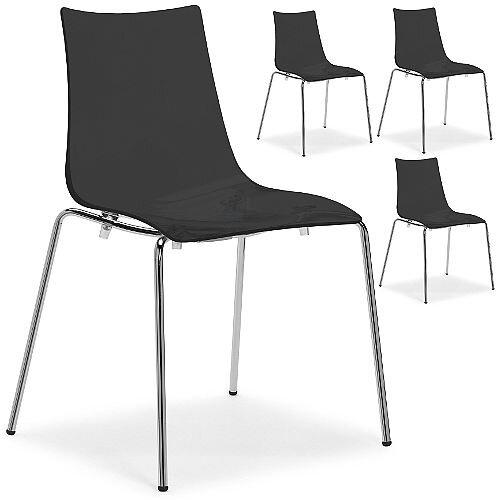 Zebra Antishock Chrome Leg Canteen & Breakout Stacking Chair Glossy Black Set of 4