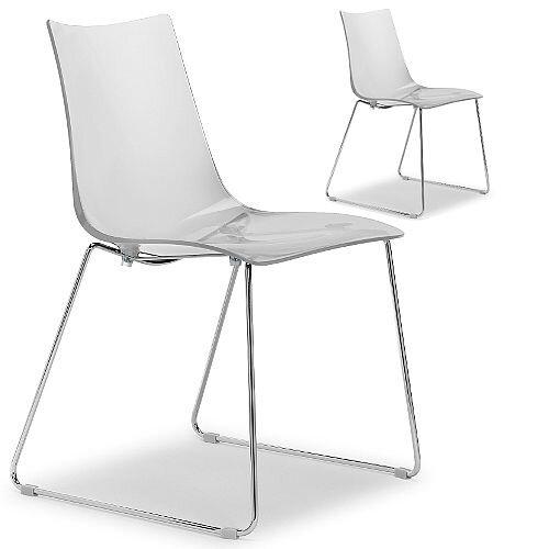 Zebra Antishock Canteen &Breakout Chrome Sled Frame Chair Transparent Set of 2