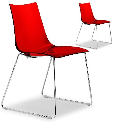 Zebra Antishock Canteen &Breakout Chrome Sled Frame Chair Translucent Red Set of 2