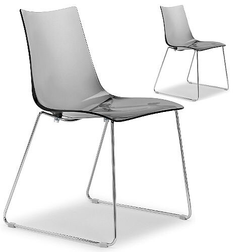 Zebra Antishock Canteen &Breakout Chrome Sled Frame Chair Translucent Smoked Grey Set of 2