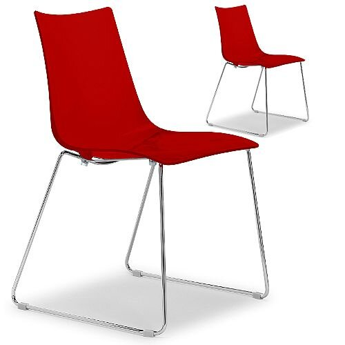 Zebra Antishock Canteen &Breakout Chrome Sled Frame Chair Glossy Red Set of 2