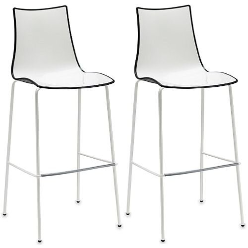 Zebra Bicolore Bar Stool With H800mm White Coated Base White/Anthracite Set of 2