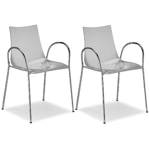 Zebra Antishock Canteen &Breakout Chrome Leg Chair With Arms Transparent Set of 2