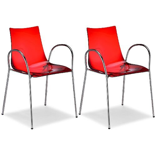 Zebra Antishock Canteen &Breakout Chrome Leg Chair With Arms Translucent Red Set of 2