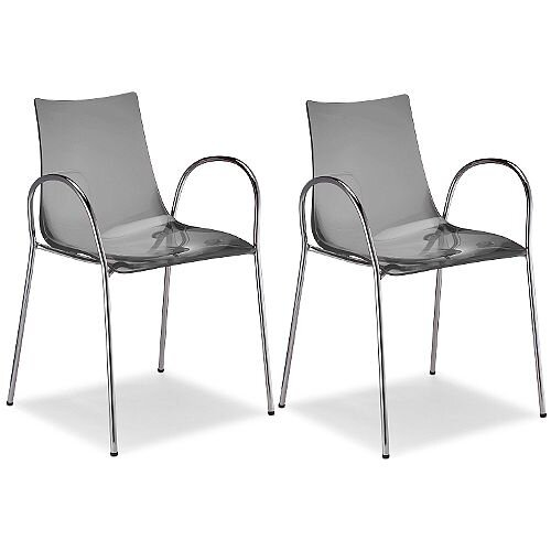 Zebra Antishock Canteen &Breakout Chrome Leg Chair With Arms Translucent Smoked Grey Set of 2