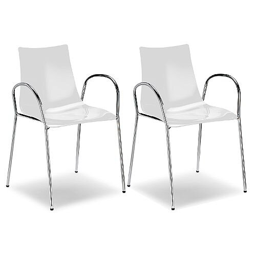 Zebra Antishock Canteen &Breakout Chrome Leg Chair With Arms Glossy White Set of 2