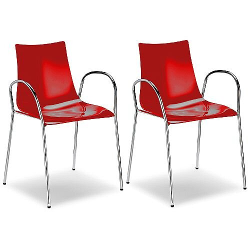 Zebra Antishock Canteen &Breakout Chrome Leg Chair With Arms Glossy Red Set of 2