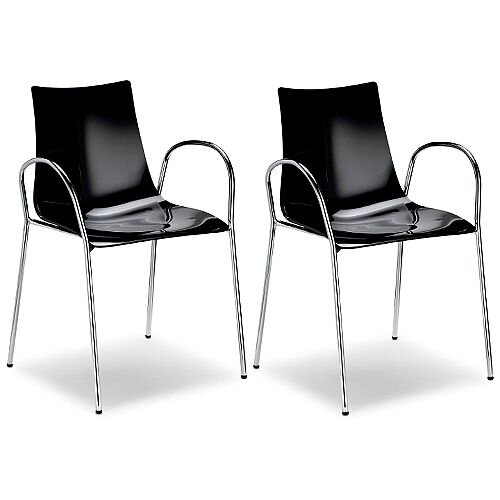 Zebra Antishock Canteen &Breakout Chrome Leg Chair With Arms Glossy Black Set of 2