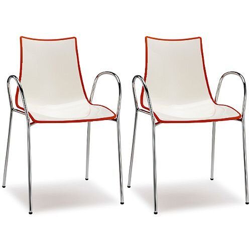 Zebra Bicolore Chrome Leg High Gloss Stacking Canteen Chair With Arms White/Red Set Of 2