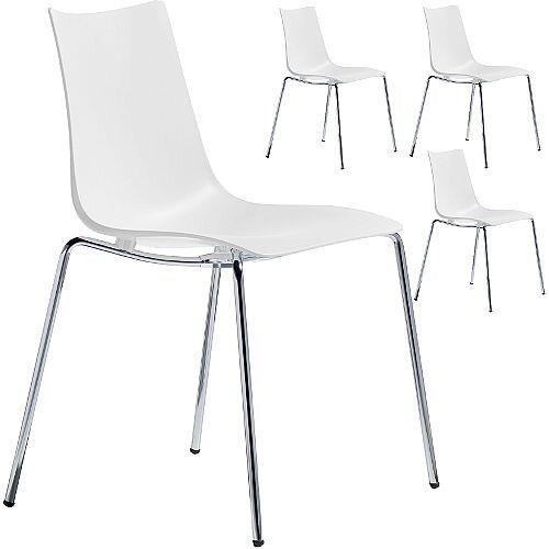 Zebra Technopolymer Chrome Leg Canteen &Breakout Stacking Chair Linen White Set of 4