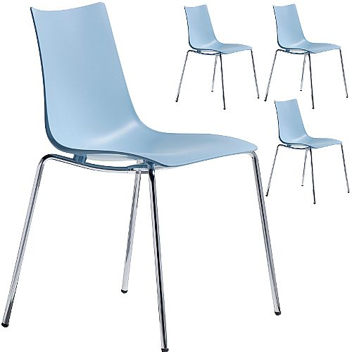 Zebra Technopolymer Chrome Leg Canteen &Breakout Stacking Chair Light Blue Set of 4