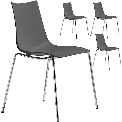 Zebra Technopolymer Chrome Leg Canteen &Breakout Stacking Chair Anthracite Set of 4
