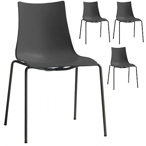 Zebra Technopolymer Outdoor Stacking Chair with Anthracite Coated Leg Set of 4 Anthracite