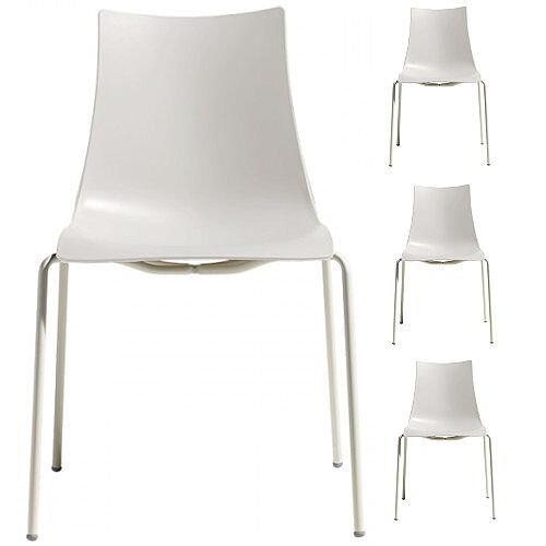 Zebra Technopolymer Outdoor Stacking Chair with Linen Coated Leg Set of 4 Linen White
