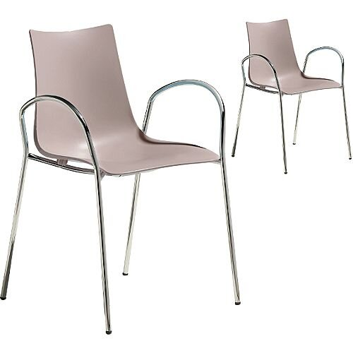 Zebra Technopolymer Canteen &Breakout Chrome Leg Chair with Arms Set of 2 Dove Grey