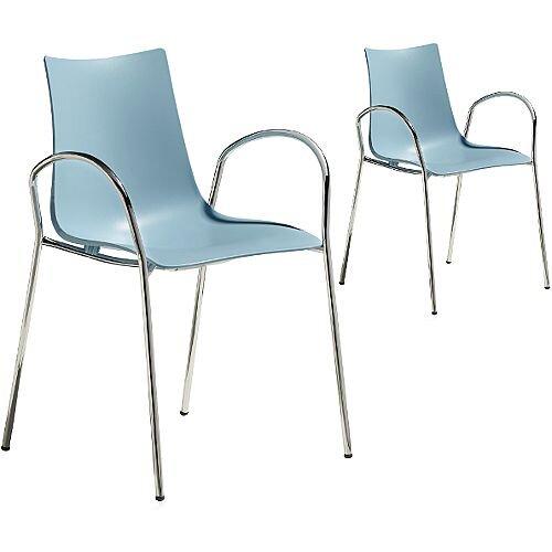 Zebra Technopolymer Canteen &Breakout Chrome Leg Chair with Arms Set of 2 Light Blue