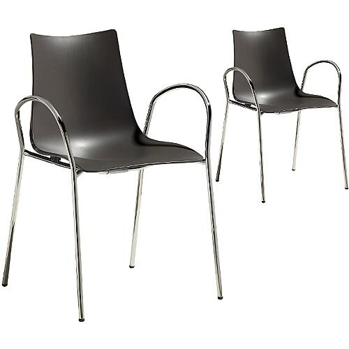 Zebra Technopolymer Canteen &Breakout Chrome Leg Chair with Arms Set of 2 Anthracite