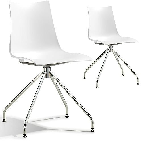 Zebra Technopolymer Canteen Chair with Chrome Trestle Revolving Base Set of 2 Linen White