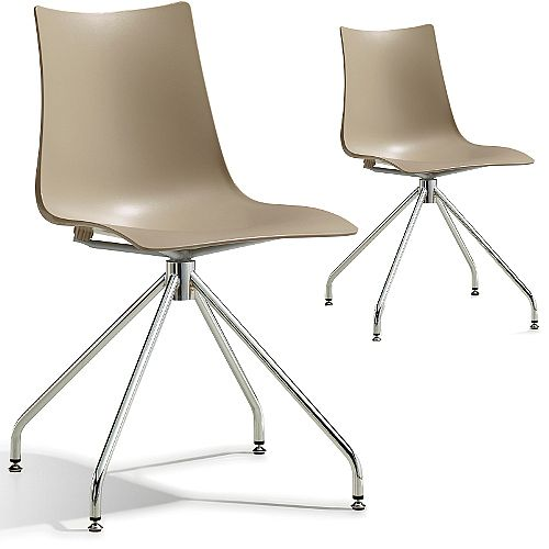 Zebra Technopolymer Canteen Chair with Chrome Trestle Revolving Base Set of 2 Dove Grey