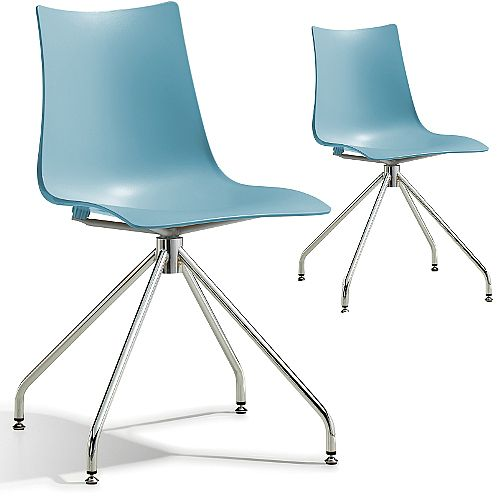 Zebra Technopolymer Canteen Chair with Chrome Trestle Revolving Base Set of 2 Light Blue