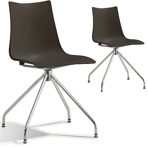 Zebra Technopolymer Canteen Chair with Chrome Trestle Revolving Base Set of 2 Anthracite