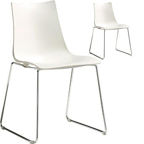 Zebra Technopolymer Chrome Sled Base Canteen &Breakout Chair Linen White Set of 2