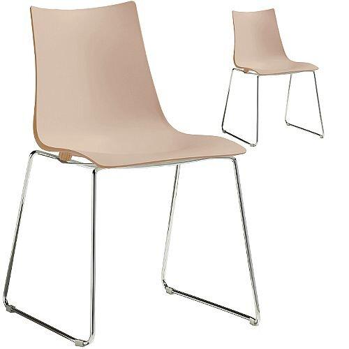 Zebra Technopolymer Chrome Sled Base Canteen &Breakout Chair Dove Grey Set of 2