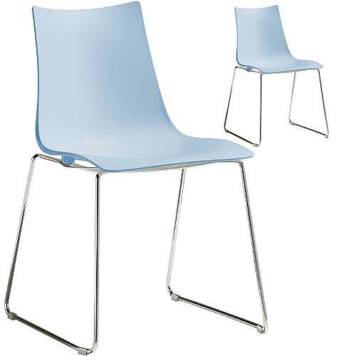 Zebra Technopolymer Chrome Sled Base Canteen &Breakout Chair Light Blue Set of 2