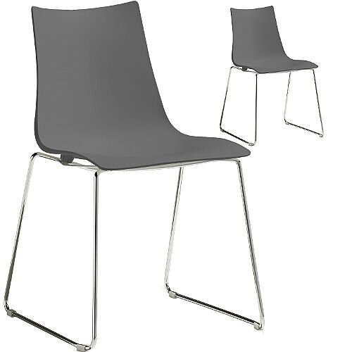 Zebra Technopolymer Chrome Sled Base Canteen &Breakout Chair Anthracite Set of 2