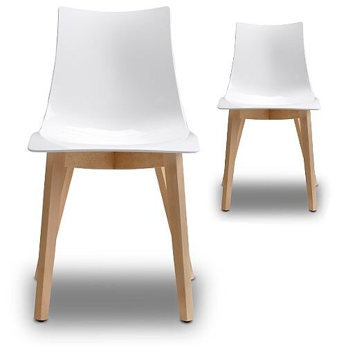 Natural Zebra Antishock Canteen &Breakout Natural Beech Leg Chair Glossy White Set of 2