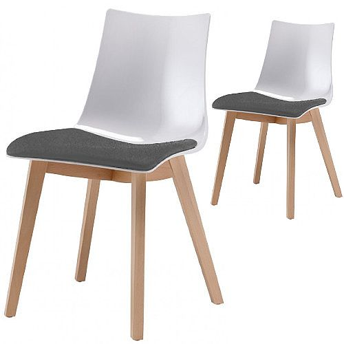 Natural Zebra Antishock Canteen & Breakout Wooden Leg Chair With Grey Fabric Cushion Glossy White Set of 2