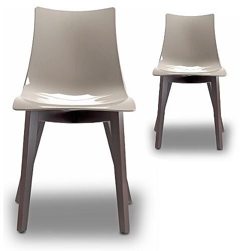 Natural Zebra Antishock Canteen &Breakout Wenge Beech Leg Chair Glossy Dove Grey Set of 2