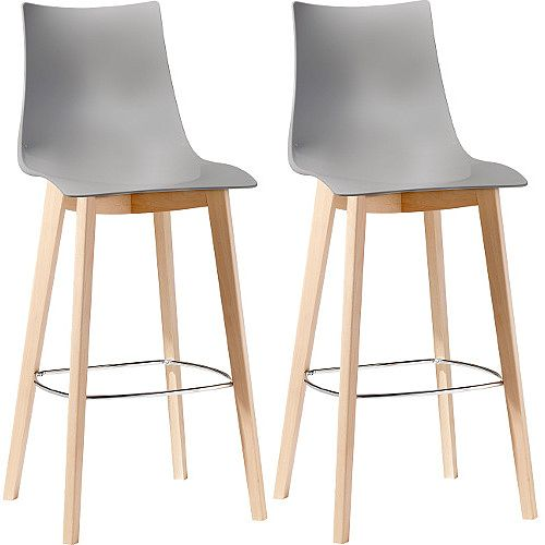 Natural Zebra Antishock Canteen &Breakout Wooden Leg Barstool Glossy Dove Grey Set of 2