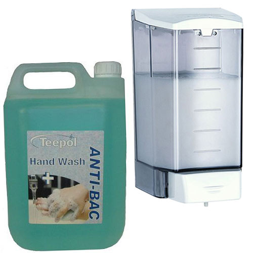 1.1 Ltr Liquid Soap Dispenser &5 Ltr Anti-Bacterial Soap Bundle