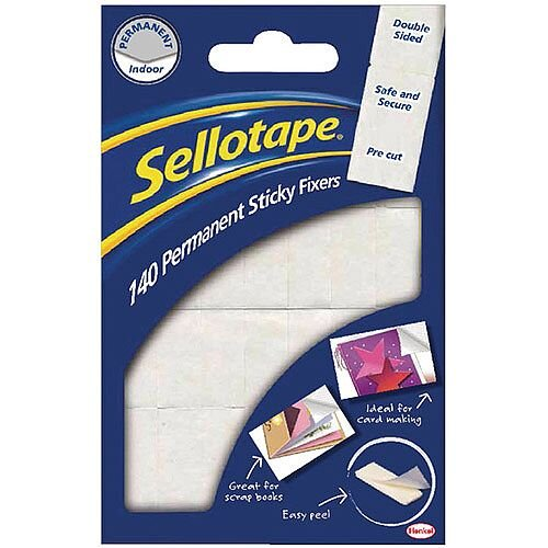 Sellotape Double Sided Sticky Fixers Permanent Pack of 140
