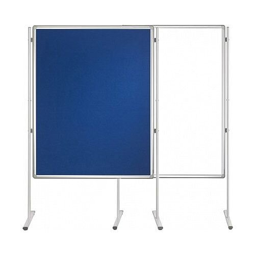 Double Sided Felt Notice Board Blue &Whiteboard 1200 x 900mm For Franken Pro Partition System  - Feet are not Included, Available to Buy Separately