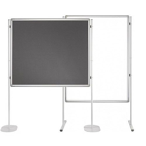 Double Sided Felt Notice Board Grey & Whiteboard 1200 x 1800mm For Franken Pro Partition System  - Feet are not Included, Available to Buy Separately