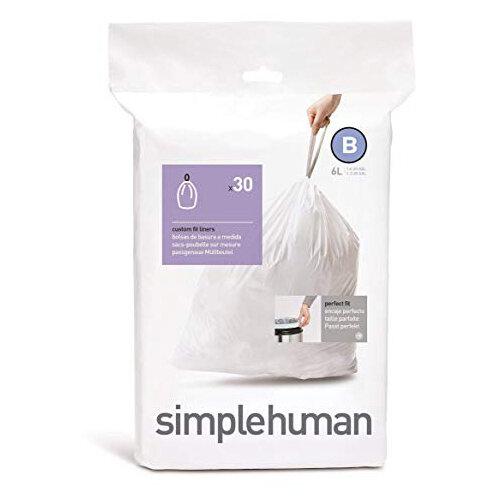 Simplehuman Custom Fit Bin Liners Code B 6L, Pack of 30 CW0161