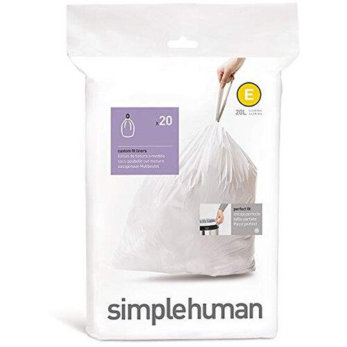Simplehuman Custom Fit Bin Liners Code E 20L, Pack of 20 CW0164
