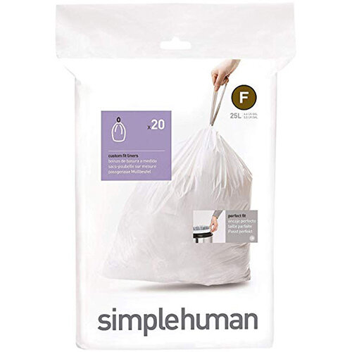 Simplehuman Custom Fit Bin Liners Code F 25L, Pack of 20 CW0165