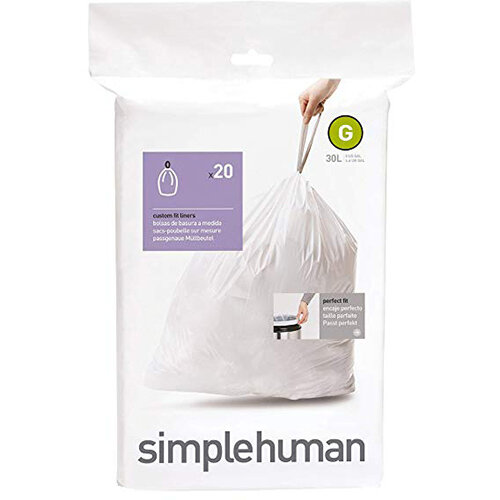 Simplehuman Custom Fit Bin Liners Code G 30L, Pack of 20 CW0166