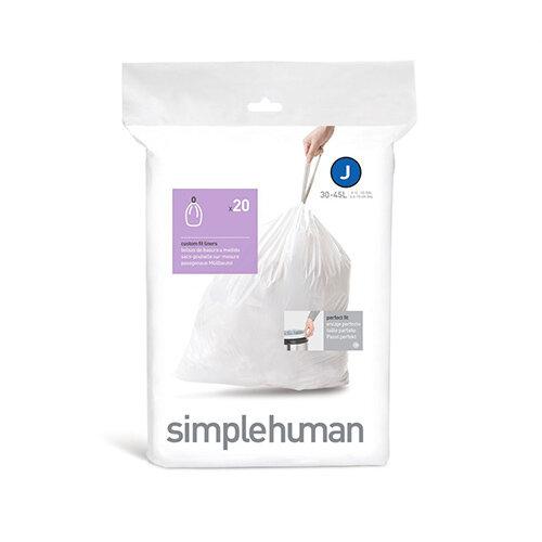 Simplehuman Custom Fit Bin Liners Code J 30-45L, Pack of 20 CW0169