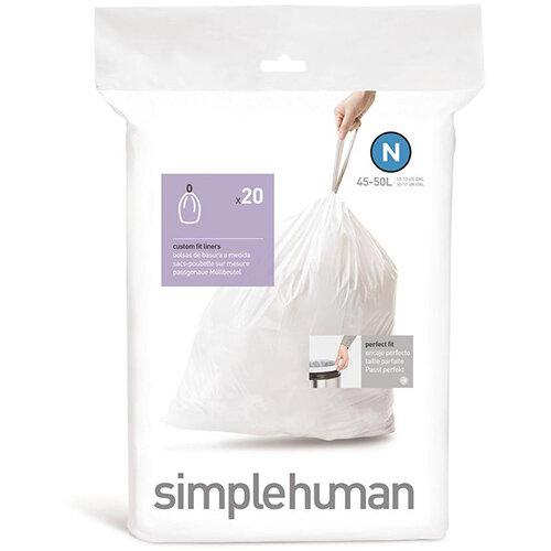 Simplehuman Custom Fit Bin Liners Code N 45-50L, Pack of 20 CW0174