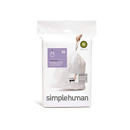 Simplehuman Custom Fit Bin Liners Code R 10L, Pack of 20 CW0201