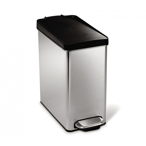 Simplehuman Profile Bathroom Bin 10L Pedal Operated Brushed Stainless Steel With Plastic Lid CW1180CB