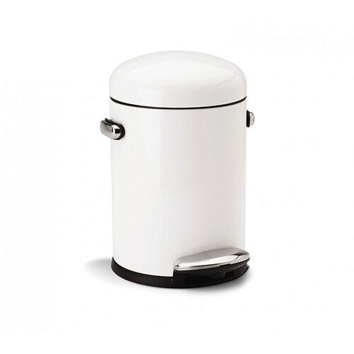 Simplehuman Round Retro Design Bathroom Bin 4.5L Pedal Operated White Steel CW1295CB